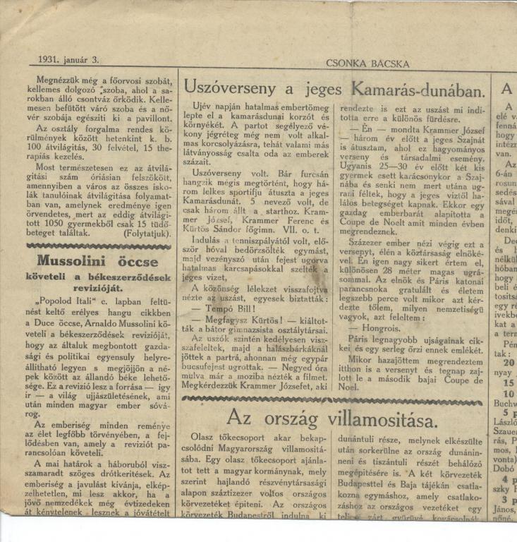 Uszoverseny 1931.jan.03